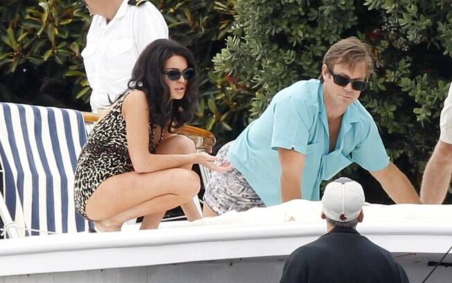 Lindsay Lohan grava ao lado de Grant Bowler filme de Elizabeth Taylor, em Los Angeles