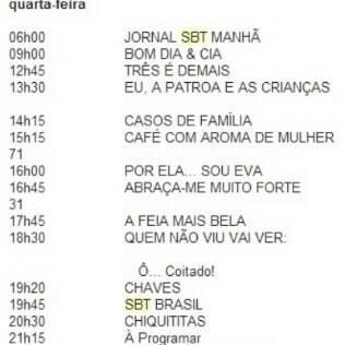 Grade de quarta-feira (30) do SBT mostra indefinição no horário de exibição diária de 'Rebelde'