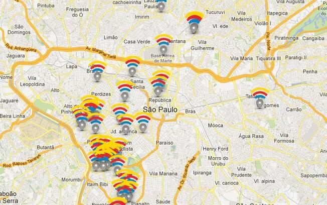 Mapa do Google mostra localização de bares na cidade de São Paulo que terão Wi-Fi gratuito