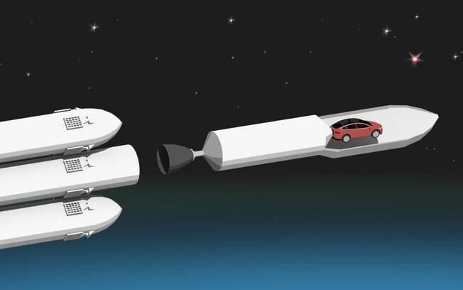 Ilustração que exemplifica o Tesla Roadster a bordo do Falcon Heavy