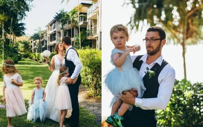 Menino de dois anos gosta de usar vestidos e, no casamento dos pais, usou um vestido azul