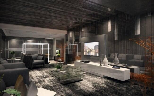 Ares urbanos marcam presença no ambiente de Shehtman e a divisória em vidro garante a continuidade do ambiente. A poltrona Stingray integra o living e a sala de jantar