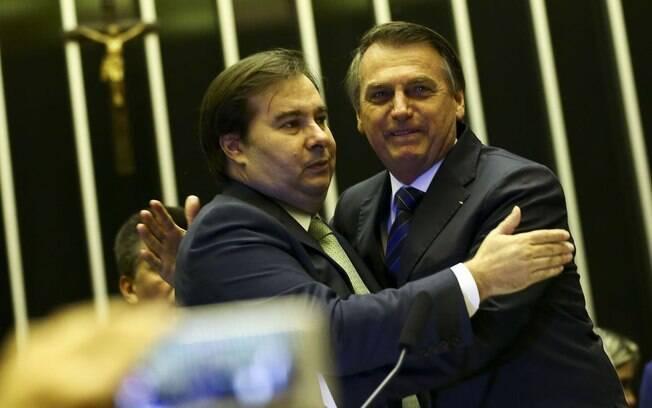 Rodrigo Maia e Jair Bolsonaro.