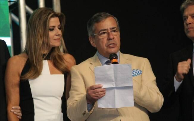 Paulo Henrique Amorim durante seu discurso na Record