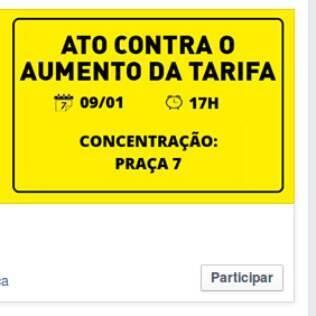Convite do grupo Tarifa Zero BH para manifestação no dia 7/1/15