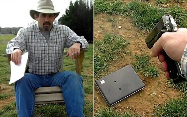 Tommy no vídeo: o pai lê o post da filha e depois atira no computador