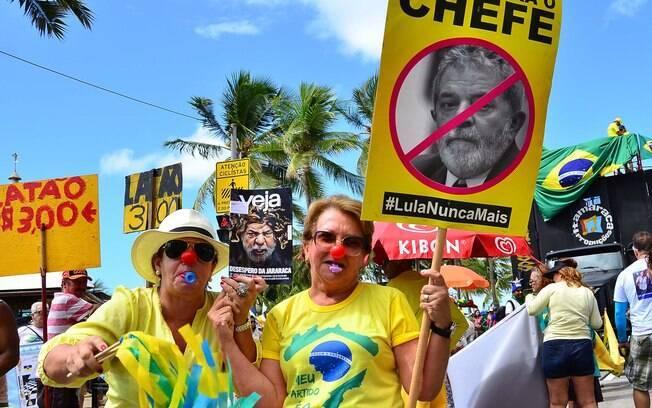 Ações contra o ex-presidente Luiz Inácio da Silva levam às ruas do Recife movimentos anti-PT. Foto: Pablo Kennedy/Futura Press - 13.03.16