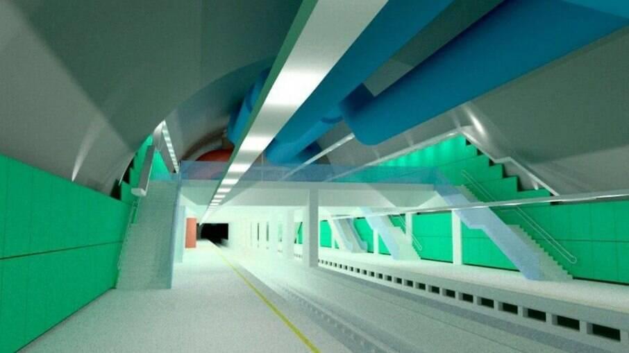 Projeção da estação Gávea do metrô, na Zona Sul, quando finalizada