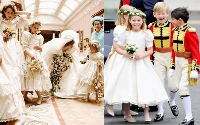 As daminhas de Diana carregaram muito mais flores do que as de Kate e William. O buquê de Diana era um modelo cascata