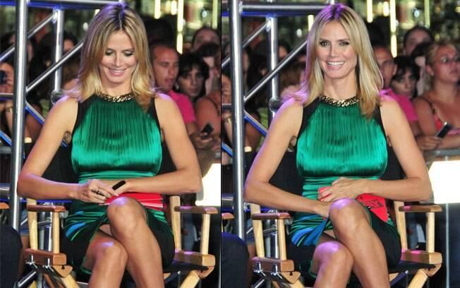 Heidi Klum: sem perceber, fotógrafos clicavam o exato momento que a modelo abria as pernas...