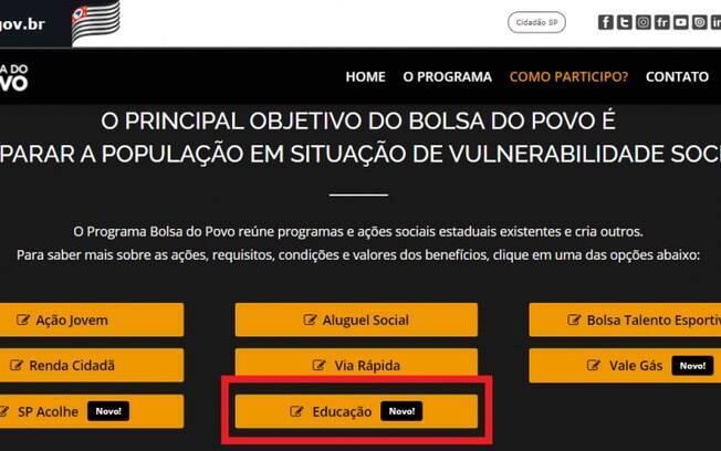 Bolsa do Povo Educação: como se inscrever no programa do Governo de SP