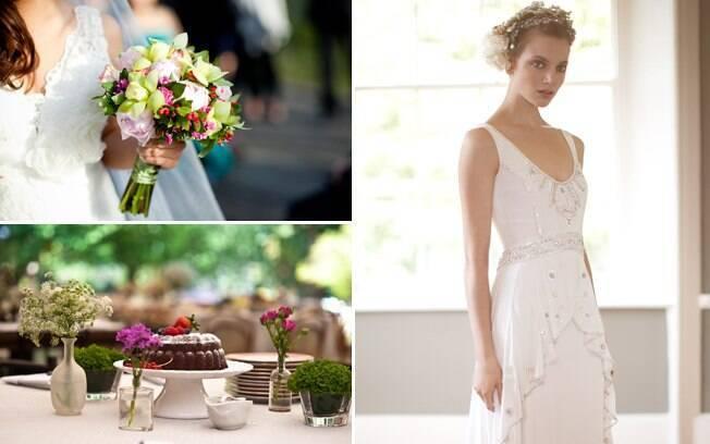 Buquê, mesa do bolo e vestido bordado: detalhes são o destaque do casamento para poucas pessoas