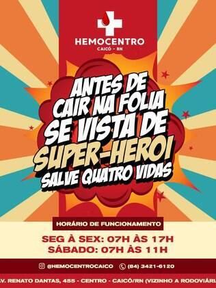 Cartaz da prefeitura de Caicó para doação de sangue no carnaval