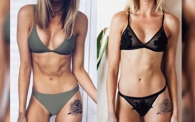 Rebecca Jackson afirmou no post que não faz nenhum retoque para conseguir peitos grandes nas fotos que compartilha