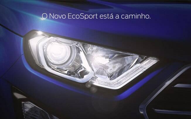 Teaser do Ford EcoSport no site da marca, adiantando o lançamento do SUV compacto renovado
