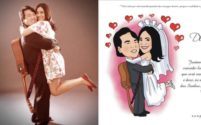 Diana e Eric de verdade e no convite: foto  serviu de base para a caricatura