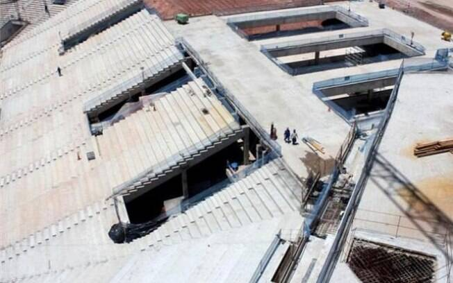 Visão de parte das arquibancadas da Arena  Corinthians, que receberá o jogo de abertura da  Copa 2014
