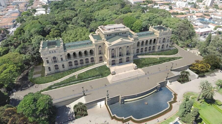 Visão aérea do Museu do Ipiranga - Imagem ilustrativa
