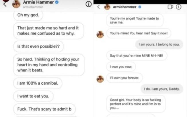 Supostos prints em que Armie Hammer revela desejos canibais