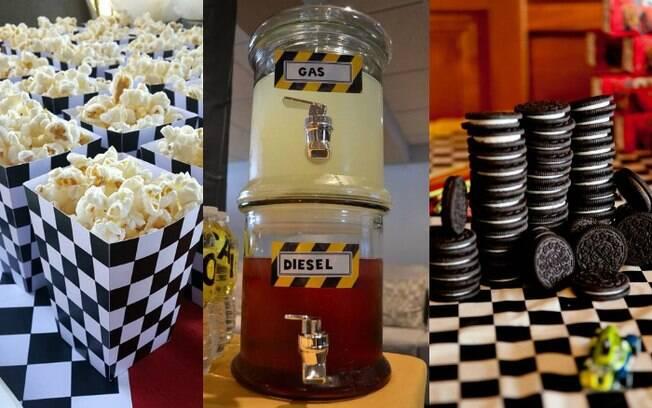 Comidas também podem fazer parte da decoração da festa, basta você pensar nos detalhes que compõem o universo carros