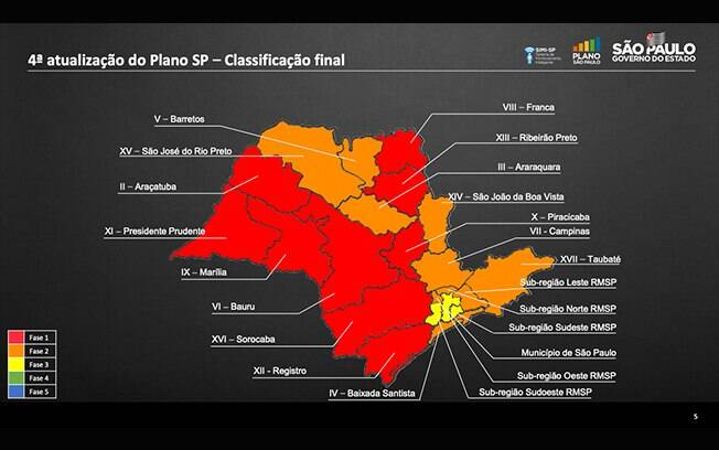 Nove cidades do interior de São Paulo estão na fase vermelha da flexibilização