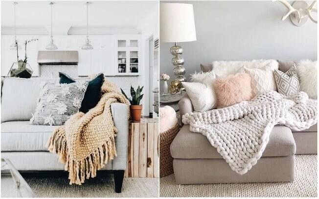 Além de ser útil, espalhar cobertas e almofadas em sofás e poltronas é interessante para a decoração