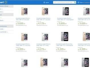 Site exibia venda de aparelhos na tarde desta sexta-feira.