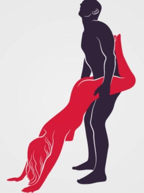 Posições diferentes: o homem se apoia na parede, de pé, para que a companheira realize o Carrinho de mão