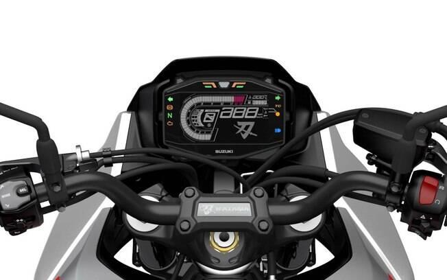 O cluster do Suzuki Katana é digital e multifuncional, com o objetivo de trazer conectividade e facilitar a vida do piloto