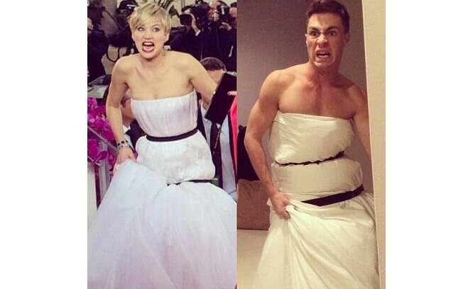 Colton Haynes, ator de 'Arow', imitou o vestido de Jennifer Lawrence e fez sucesso nas redes sociais