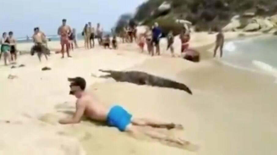 Banhistas ficaram olhando o turista tirar a foto com o animal