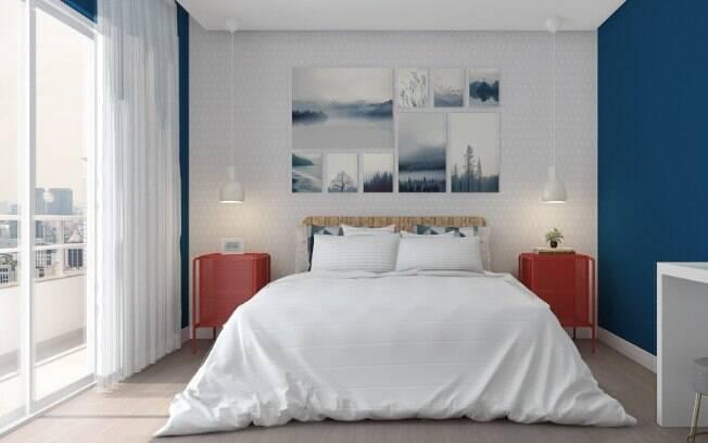 Os quadros podem ser colocados em diversos pontos da casa, inclusive atrás da cama, como mostra esta imagem