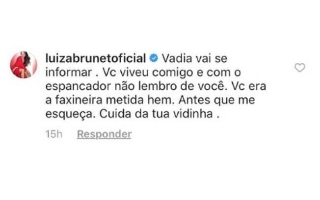 Internauta compartilhou comentário feito por Luiza Brunet nas redes sociais
