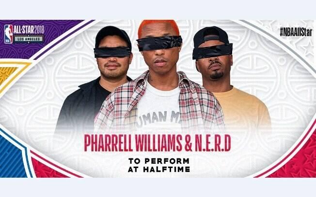 Pharrell Williams será o responsável pelo show no All-Star Game da NBA ao lado da banda N.E.R.D