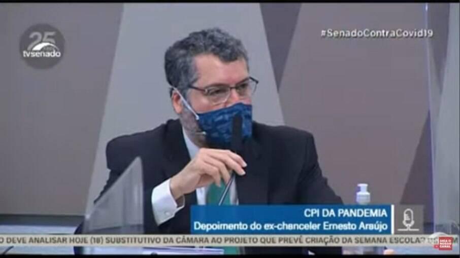 Ernesto Araujo em depoimento na CPI da Covid-19