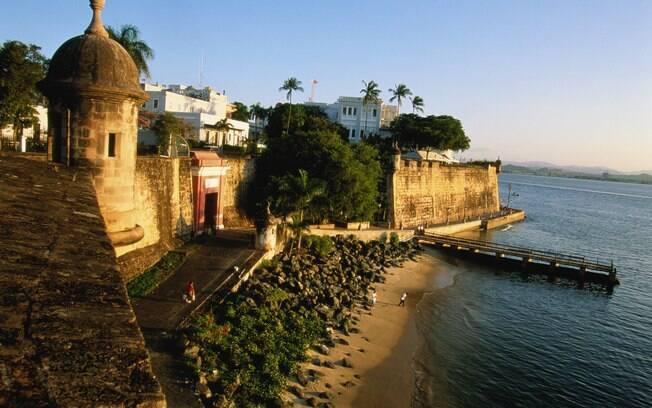 A bela fortaleza do Palácio do Governador, na ilha de San Juan