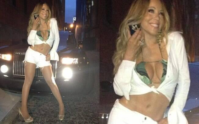 Mariah Carey curte noite com amigos e exibe boa forma no Twitter