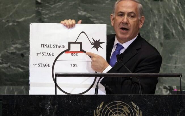 Benjamin Netanyahu discursa contra o programa nuclear iraniano, que vê como ameaça a Israel