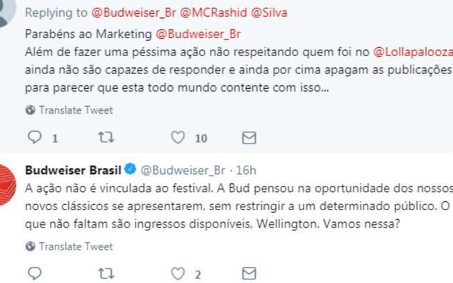 Budweiser explica sobre show de Silva e Rashid