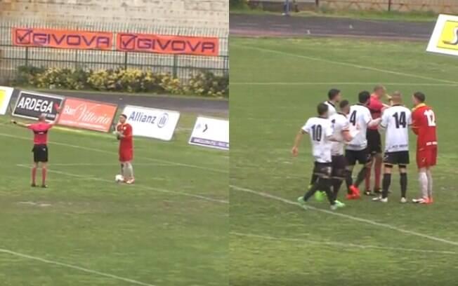 O momento em que o goleiro Armando Prisco, do Messina, quarta divisão da Itália, é expulso por urinar em campo