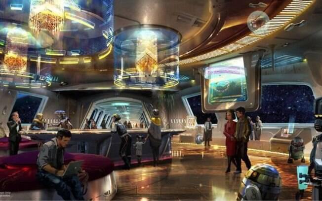 A parte interna do hotel terá ambientação de espaçonave e decoração que remete a franquia de filmes de George Lucas