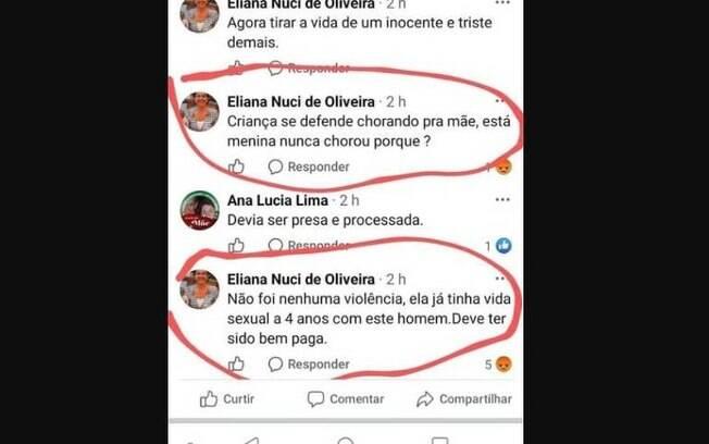 Eliana Nuci de Oliveira fez declarações alegando que menina estuprada era