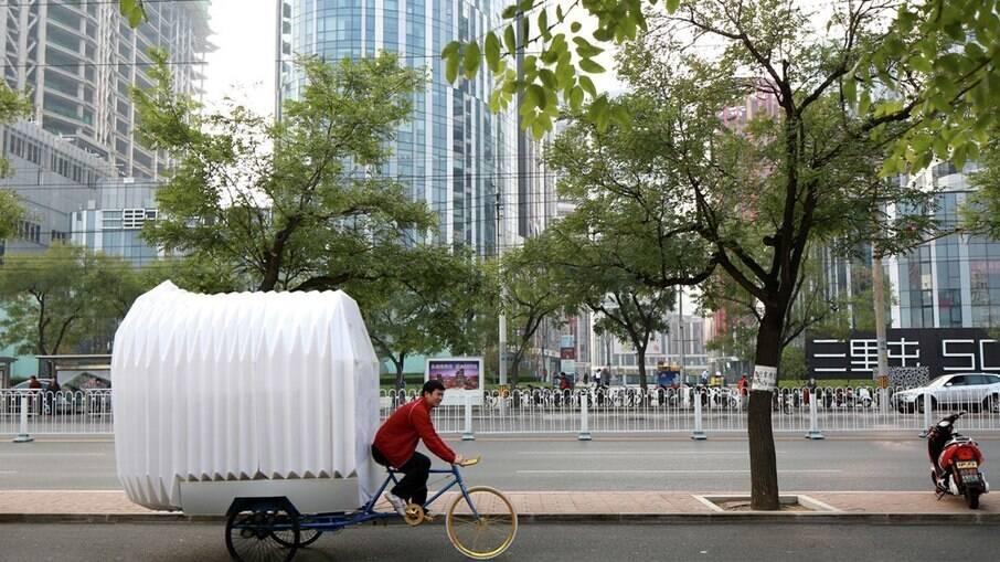 O Tricycle House é um projeto chinês criado para atender a necessidade de nômades que passam boa parte do tempo viajando