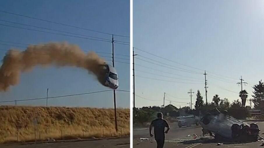 Acidente chocante: carro voa mais de 15 metros sobre uma rodovia, na Califórnia
