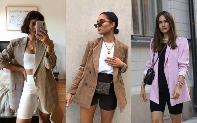 O visual que combina biker shorts com blazer está sendo muito usadao pelas fashionistas e influenciadoras de moda