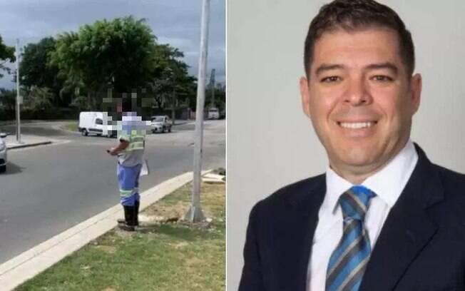 O candidato a vereador Luiz Wanderley Martins Junior (direita) humilhou e filmou um agente de trânsito