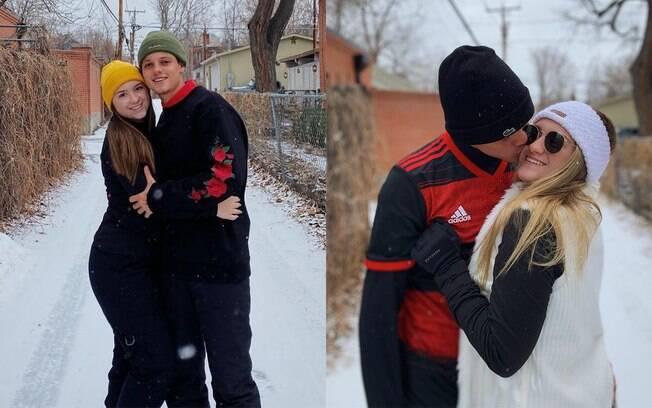 Filhas gêmeas de Gugu viajam com os namorados para a neve