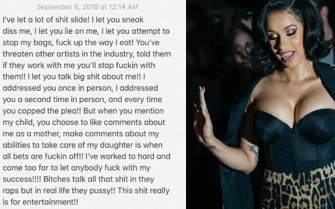 Cardi B desabafa no Instagram após confusão com Nicki Minaj
