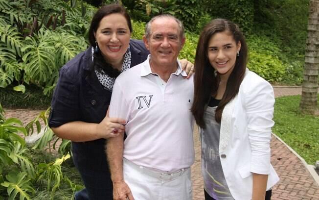 Renato Aragão com a filha, Lívian, e a mulher, Lílian