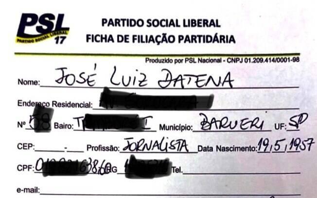 Ficha de filiação de Datena ao PSL